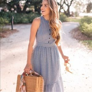 GAL MEETS GLAM Blue Gingham check Ardith dress